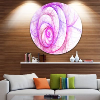 Design Art Pink Exotic Flower Pattern Floral Circle Metal Wall Art