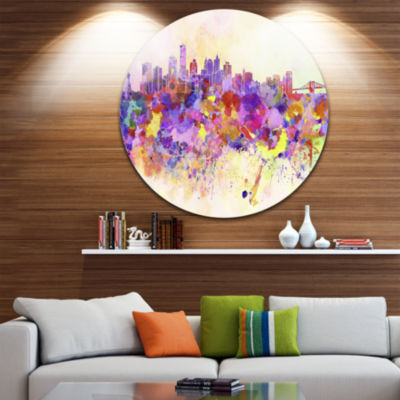 Design Art Purple New York Skyline Disc CityscapeCircle Metal Wall Art