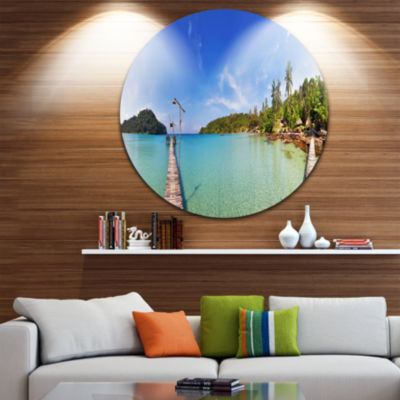 Design Art Piers and Palm Trees on Island Landscape Photography Circle Circle Metal Wall Art