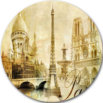 Design Art Old Beautiful Paris Disc Cityscape Circle Metal Wall Arts
