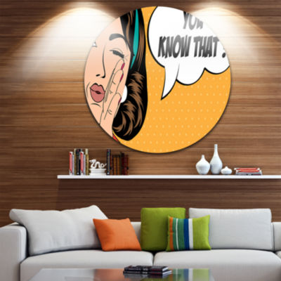 Design Art Retro Woman in Comic Style Abstract Portrait Circle Metal Wall Art