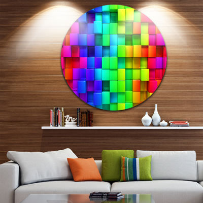 Design Art Rainbow of Colorful Boxes Abstract Metal Artwork