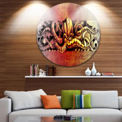 Design Art Octopus Sketch in Yellow Shade Animal Circle Metal Wall Art