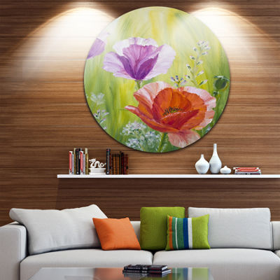 Design Art Poppies in the Morning Floral Metal Circle Wall Art