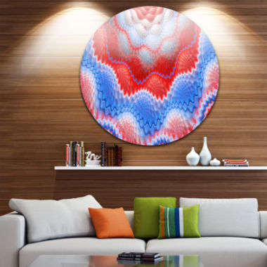Design Art Red Blue Snake Skin Flower Abstract Arton Round Circle Metal Wall Decor Panel