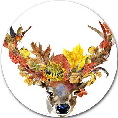 Design Art Roe Deer with Flowers Disc Floral Circle Metal Wall Art
