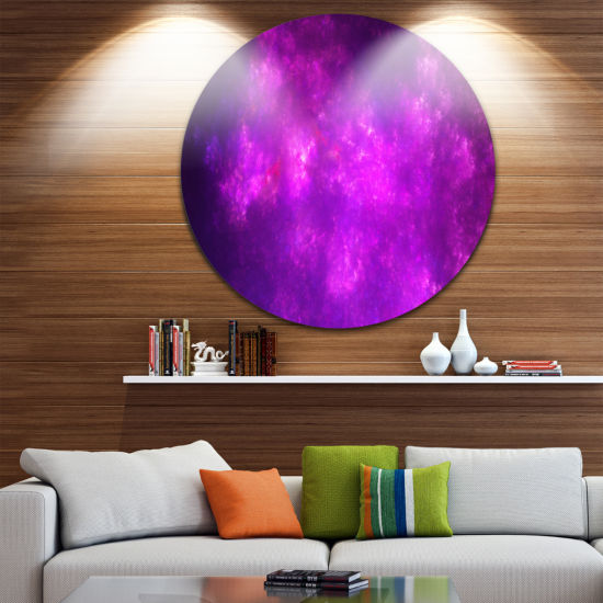 Design Art Purple Starry Fractal Sky Abstract Round Circle Metal Wall Decor