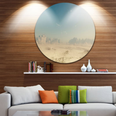 Design Art Sandy Dessert Disc Landscape Photography Circle Metal Wall Art