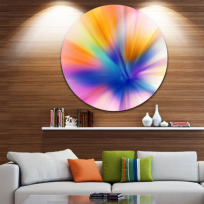 Design Art Rays of Speed Yellow Abstract Circle Metal Wall Art