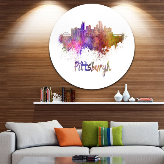 Design Art Pittsburgh Skyline Disc Cityscape MetalArtwork Print