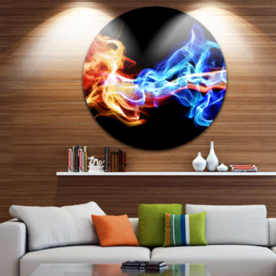 Design Art Red and Blue Smoke Abstract Disc LargeContemporary Circle Metal Wall Arts