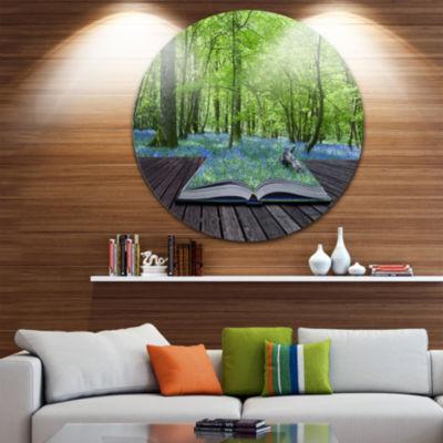 Design Art Open Book to Green Forest Disc Landscape Circle Metal Wall Art