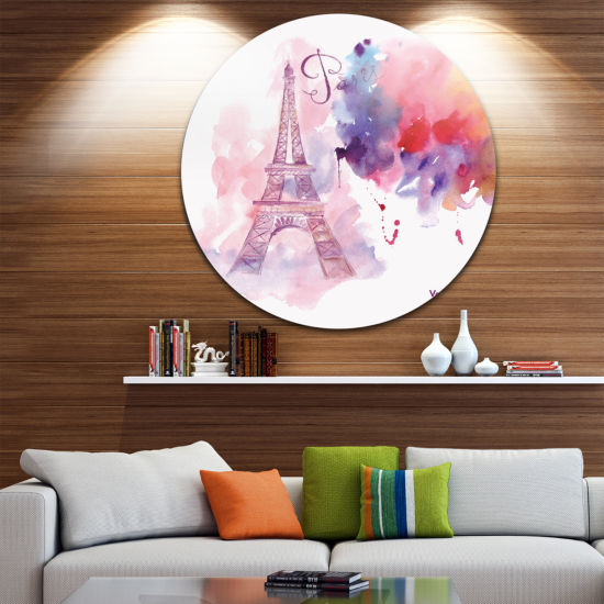 Design Art Paris Eiffel Tower in Cloud of Colors Disc Watercolor Painting Circle Metal Wall Art