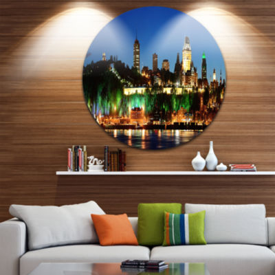 Design Art Panoramic Quebec City at Night Disc Cityscape Photo Circle Metal Wall Art