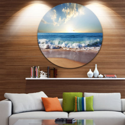 Design Art Sea Sunset Disc Seascape Photography Circle Metal Wall Art