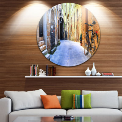 Design Art Pictorial Street of Old Italy Disc Cityscape Circle Metal Wall Art