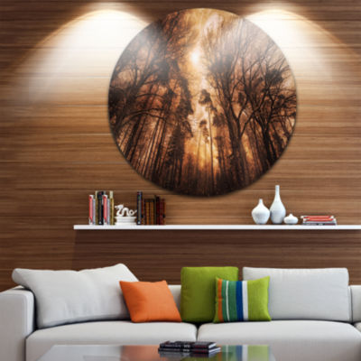 Design Art Picturesque Autumn Forest Landscape Photography Circle Metal Wall Art