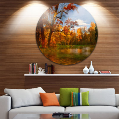 Design Art Quiet and Silent Autumn Landscape Circle Metal Wall Art