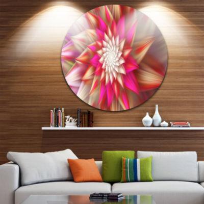 Design Art Pink Exotic Fractal Flower Abstract Round Circle Metal Wall Art