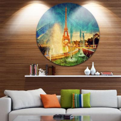 Design Art Paris Eiffel Tower from Fountain Disc Landscape Circle Metal Wall Art