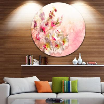 Design Art Pink Bouquet of Flowers Floral Circle Metal Wall Art
