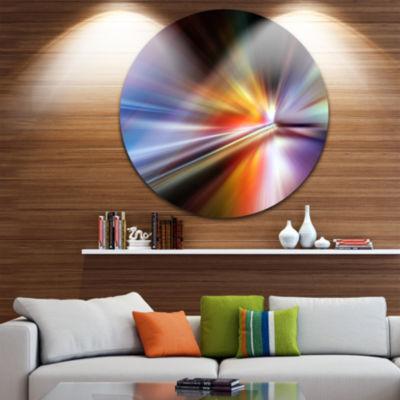 Design Art Rays of Speed Purple Abstract Circle Metal Wall Art