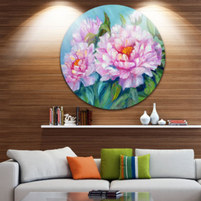 Design Art Pink Peonies Floral Circle Metal Wall Art
