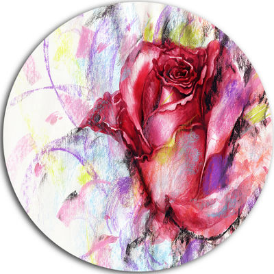 Design Art Red Rose Illustration Disc Floral Circle Metal Wall Art