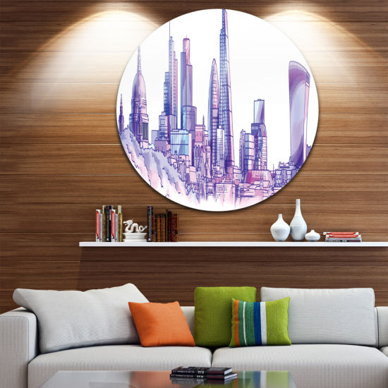 Design Art Purple London Skyline Disc Cityscape Painting Circle Metal Wall Art