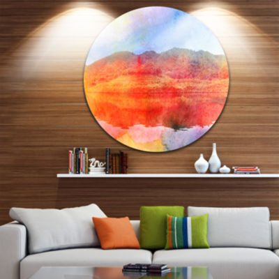 Design Art Red Retro Island Watercolor Landscape Painting Circle Metal Wall Art