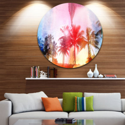 Design Art Retro Palm Trees Long View Landscape Painting Circle Metal Wall Art