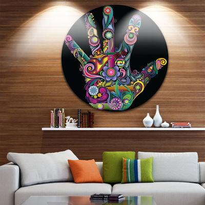 Design Art Rainbow Hand with Multi Colors AbstractCircle Metal Wall Art
