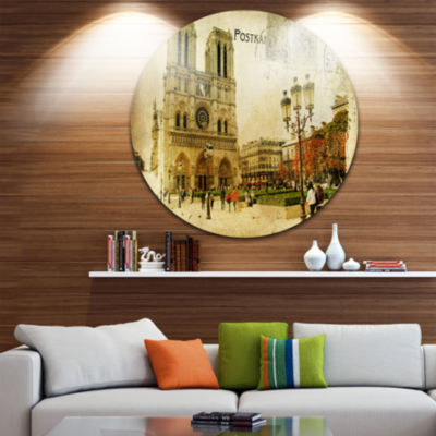 Design Art Notre Dame Cathedral Vintage Card DiscContemporary Circle Metal Wall Art