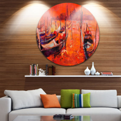 Design Art Red Sunset over Venice Landscape Painting Circle Metal Wall Art
