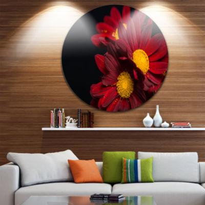 Design Art Red Velvet Chrysanthemum Flowers Disc Floral Circle Metal Wall Art