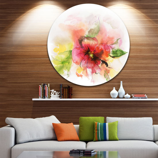 Design Art Pink and Red Floral Design Disc Watercolor Floral Circle Metal Wall Art