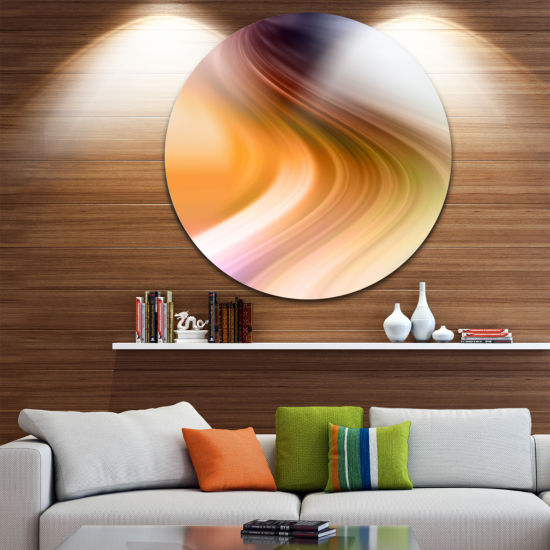 Design Art Rays of Speed Green Orange Large Abstract Circle Metal Wall Art