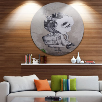 Design Art Rat Catcher Robot Disc Street Art Circle Metal Wall Art