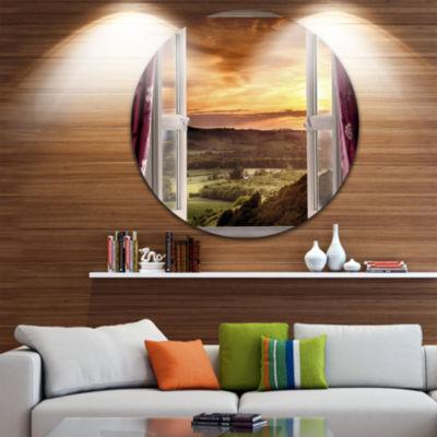 Design Art Open Window to Rural Landscape Disc Contemporary Circle Metal Wall Art