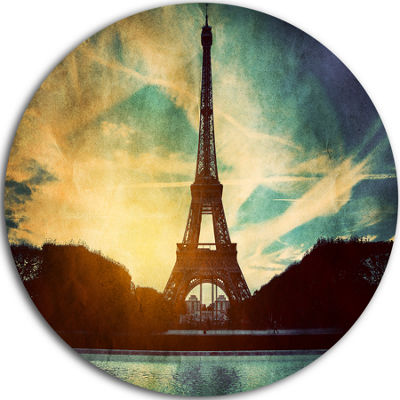 Design Art Paris Eiffel Tower Retro Style Large Cityscape Metal Circle Wall Arts