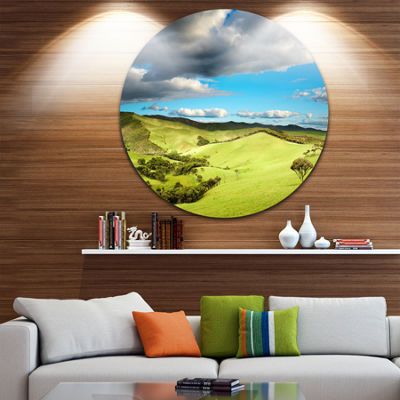 Design Art Pasture Under Cloudy Sky Disc LandscapePhotography Circle Metal Wall Art