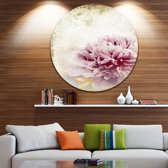 Design Art Pink Peony in Vintage Style Floral Circle Metal Wall Art