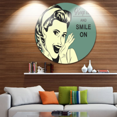 Design Art Pop Art Retro Woman Abstract Portrait Circle Metal Wall Art
