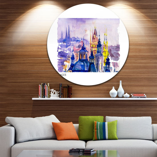 Design Art Prague Vector Illustration Disc Cityscape Painting Circle Metal Wall Art