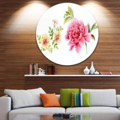 Design Art Pink and Orange Flowers Disc WatercolorFloral Circle Metal Wall Art