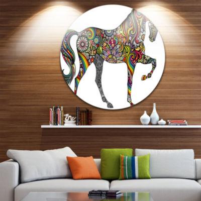 Design Art Rainbow Patterned Horse Disc Animal Circle Metal Wall Art