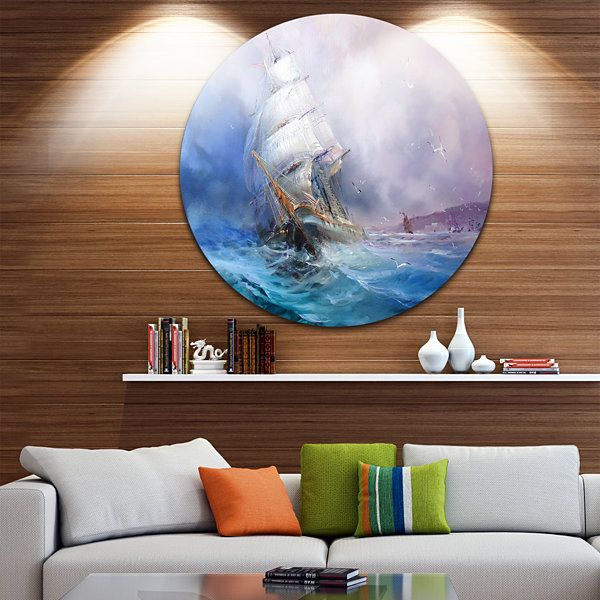Design Art Sea Breeze Disc Seascape Circle Metal Wall Art