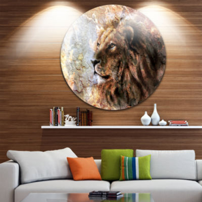 Design Art Peaceful Lion Disc Animal Circle MetalWall Art