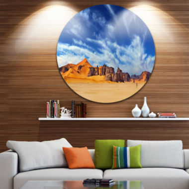 Design Art Sahara Desert Panorama Disc PhotographyCircle Metal Wall Art