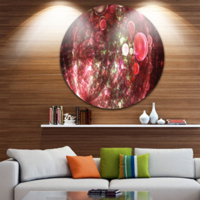 Design Art Red Spherical Planet Bubbles Abstract Round Circle Metal Wall Art